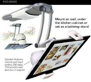 CTA 2-in-1 Kitchen Mount Stand with Bluetooth Speaker for Tablet