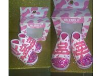 Baby girls trainers 3-6 months by Milkaholic. NEW - Designed with Crystals - BOXED