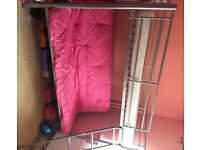 Triple metal bunk frame and futon, single + double bed silver frames + pink sofa