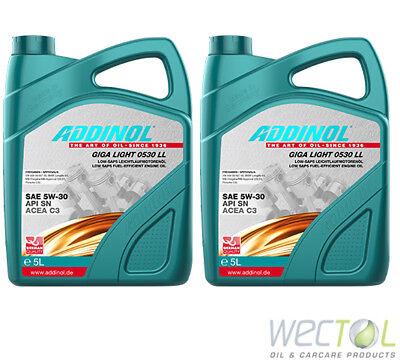 10 Liter Addinol GIGA LIGHT MV 0530 LL 5W-30 Motoröl für viele VW Audi MB 2x5 (Audi A4 Leichter)