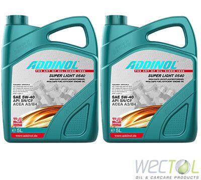 10 Liter Addinol SUPER LIGHT 0540 5W-40 Motoröl für viele VW Audi MB Renault 2x5 (Audi A4 Leichter)