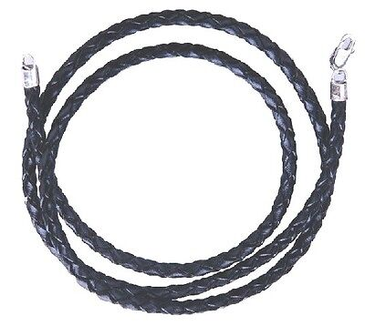 Genuine Braided Twist Rope Black Leather Cord Chain Necklace 16