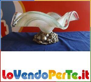 Portafrutta porta frutta centrotavola base argento vetro sopra mobile verde ebay - Mobile portafrutta ...