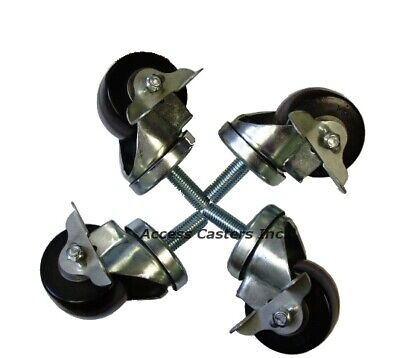 Dvlcaset58 Vending Machine Caster Set Of 4 With Brakes 2000 Lbs Capacity