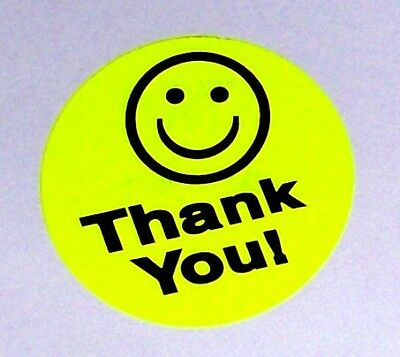 250 Thank You Smiley Label Sticker Yellow