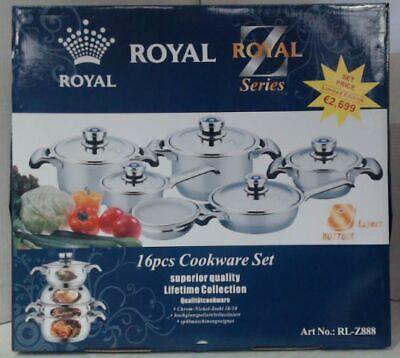 NEW Royal Z Series 16pc Cookware Set 8 Layer Bottom RL-Z888 $2699