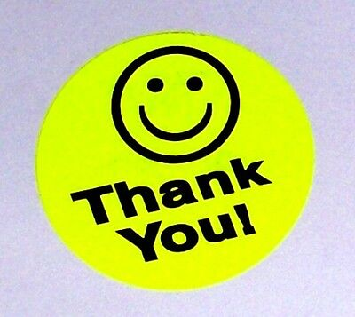 500 Big Thank You Smiley Label Sticker Round Circle 1.5 1 12 Best Price Yellow