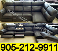 NO TAX AIR Leather Sectional Set With Features for $1299