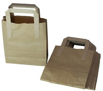 100 x Small Brown Kraft Paper Bags SOS Takeaway Food Carrier Bags 7