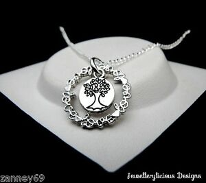 Silver Circle Of Love Word Tree Of Life  Pendant Necklace 50cm