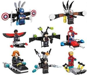 Avengers characters with accessories, 8pcs set, Lego compatible