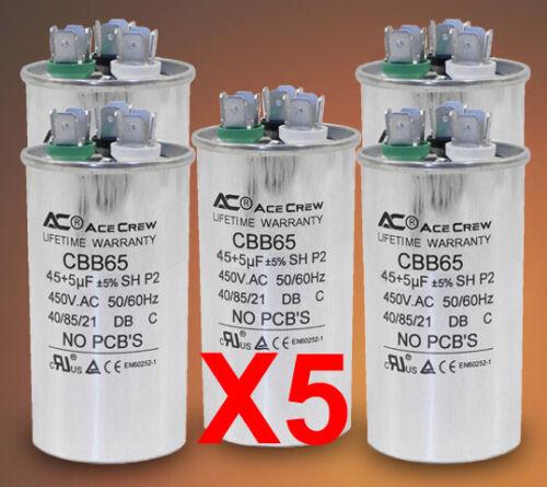 45/5 Dual Run Capacitor Lot of 5 MFD/UF 450VAC AC Electric Motor =LIFE WARRANTY=