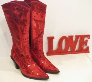 RED SEQUIN EMBROIDERED COWGIRL BOOTS NEW Size 8