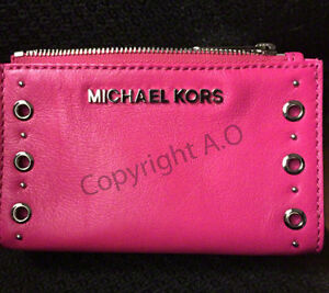Michael Kors Pink Leather Grommet Card Wallet Pouch
