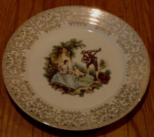 Vintage Triumph American Limoges Decorative Plate 22K Gold