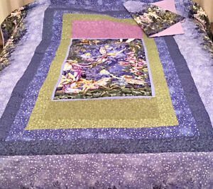 Beautiful hand-made Twin sized purple fairy quilted bedspread