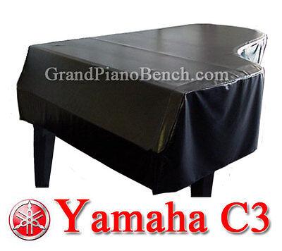 "Yamaha Black Vinyl Grand Piano Cover  for Yamaha C3 - 6'1"" - SIDE SLITS for sale  Portland"