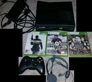XBOX 360 Slim 4gb with 1 controller, headset, and 3 games