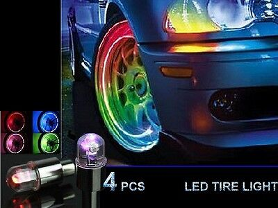 4pcs LED Tyre Tire Valve Caps Neon Light Bike Car