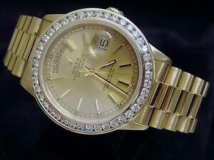 Mens-Rolex-18k-Gold-Day-Date-President-Watch-W-Diamonds
