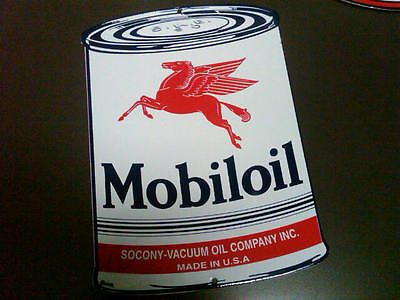Mobil Oil Can Gasoline Porcelain Advertising Sign