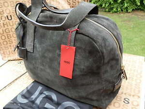 NEW HUGO BOSS LEATHER SUEDE TRAVEL LAPTOP WEEKEND LUGGAGE CARRY HOLDALL CASE BAG