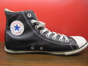 NEW-CONVERSE-ALL-STAR-CHUCK-TAYLOR-SLIM-CUT-BLACK-LEATHER-HI-MEN-SHOES-US-3-11