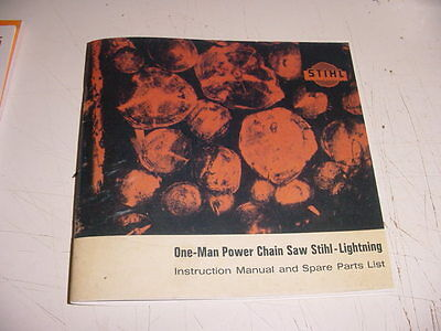 Stihl Chainsaw 090 Lightning Owners + Parts List Manual --- Manual 108