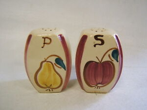 Purinton-Pottery-Apple-and-Pear-Salt-and-Pepper-Shakers-Vintage-VGC
