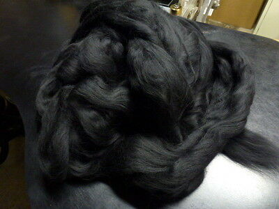 Merino Wool Top Spinning Felting Black 8 Ounces