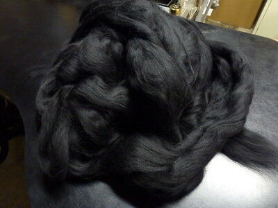 Merino Wool Top Spinning Felting Black One Pound
