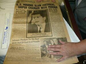 ... 1963-JOHN-F-KENNEDY-JFK-ASSASSINATION-Old-BIRMINGHAM-AL-Newspaper-Rare