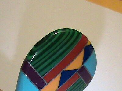 Vintage Stone Mosaic Hot Air Balloon Pendant Lapis Malachite Coral + w Sterling