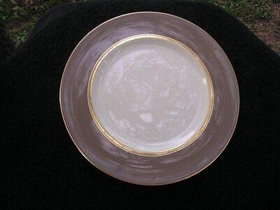 Lenox Desert Vista Gold Trim Tiny Squares Taupe Rim Cream Accent Luncheon Plate