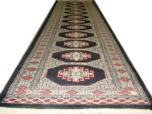 PERSIAN CARPET RUG TRIBAL BUKHARA LONG HALL WAY RUNNER COLLECTABLE ANTIQUE DESIG