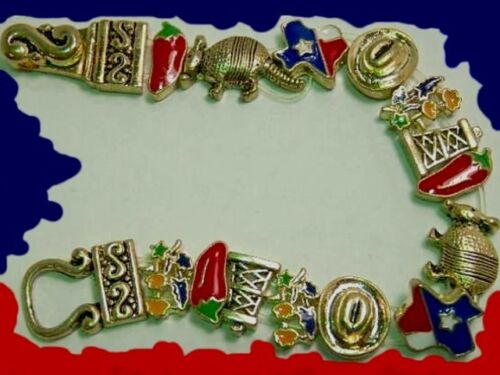 TEXAS State BRACELET Cowboy Hat Jalapeno Armadillo Oil Well Bluebonnets Jewelry
