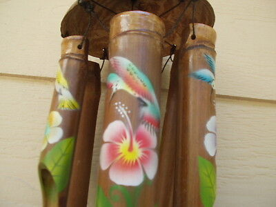 Bamboo Wind Chimes Painted Hummingbird and Flowers Half Coco Top FREE SHIP