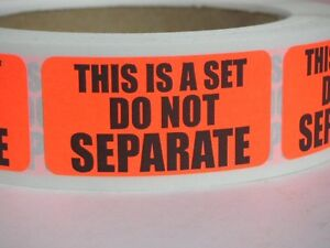 THIS IS A SET DO NOT SEPARATE FBA Warning Sticker Label red fluorescent 500/rl