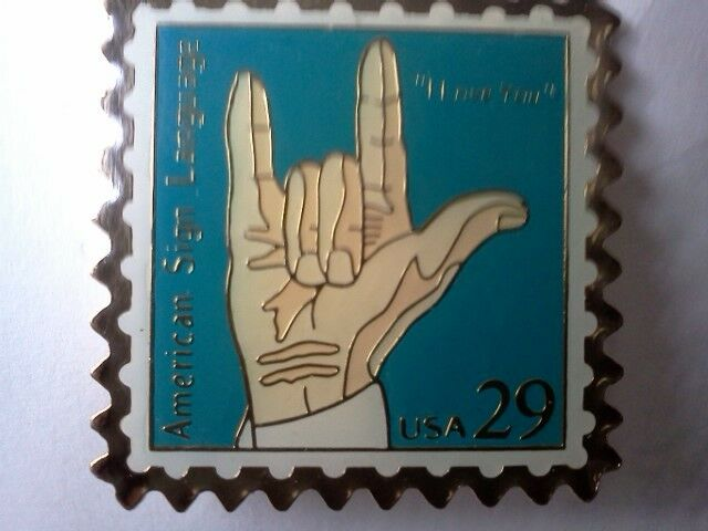 "Rare 2002 ""I Love You"" Hand Sign 29 Cent Postage Stamp Pins"