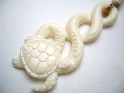 Hawaii Jewelry Turtle Buffalo Bone Carved Pendant Necklace/Choker # 35280