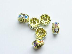 6pc-Swarovski-AB-Crystal-Round-Rhondells-Gold-plating-swarovski-ref-1775