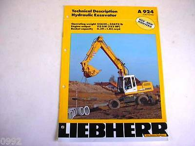 Liebherr A 924 Wheeled Excavator Color Brochure