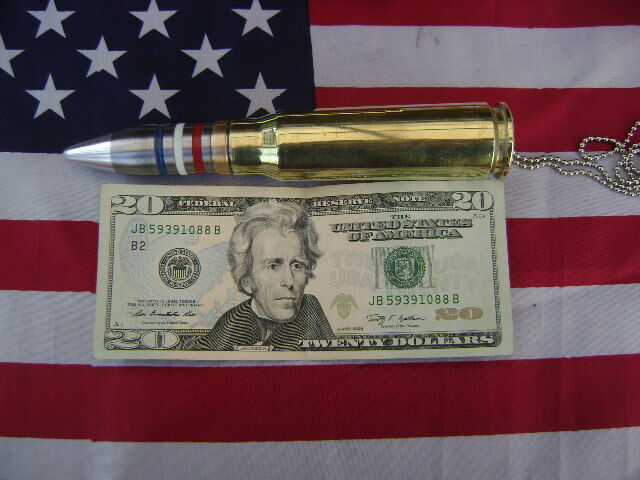 "20mm  Bullet  Necklace PENDANT  28"" BALL CHAIN (USA) STRIPS  (THE ORIGINAL)"