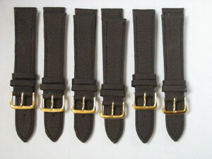 WHOLESALE-LOTS-of-6-BROWN18mm-Leather-WATCH-STRAPS