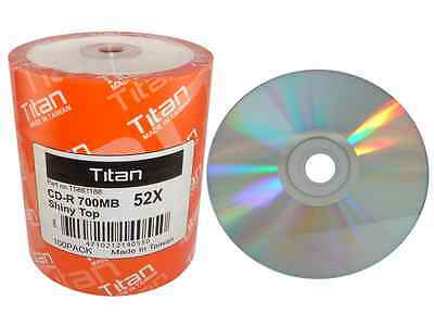 600 Titan Brand 52x Shiny Silver Top Blank Cd-r Cdr Disc ...