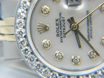 LADIES ROLEX DATEJUST  TWO TONE  WATCH 1.5 CT DIAMONDS BEZEL WHITE MOP  DIAL