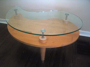 Glass top coffee table solid wood kidney shaped high end for High end glass coffee tables