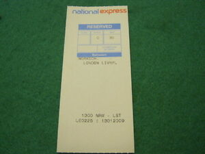 National Express Train Seat Ticket - Norwich to London Liverpool St