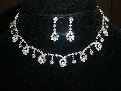 Wedding Bridal Clear Crystal Necklace & Earrings Set