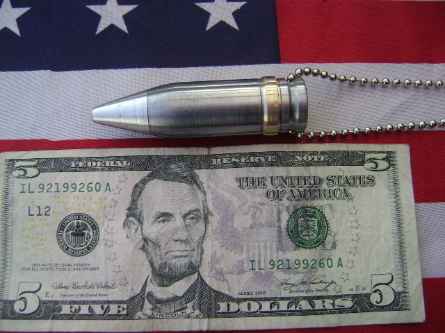 "20mm  VULCAN Bullet tip  Necklace Pendant 28"" ball chain"